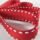 12mm x 20 Yards Red Stitched Grosgrain Ribbon (FREE S&H)