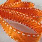 12mm x 20 Yards Orange Stitched Grosgrain Ribbon (FREE S&H)