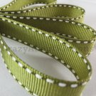 12mm x 20 Yards Olive Green Stitched Grosgrain Ribbon (FREE S&H)