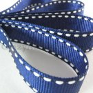 12mm x 20 Yards Navy Blue Stitched Grosgrain Ribbon (FREE S&H)