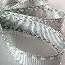 12mm x 20 Yards Grey Stitched Grosgrain Ribbon (FREE S&H)