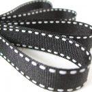12mm x 20 Yards Black Stitched Grosgrain Ribbon (FREE S&H)