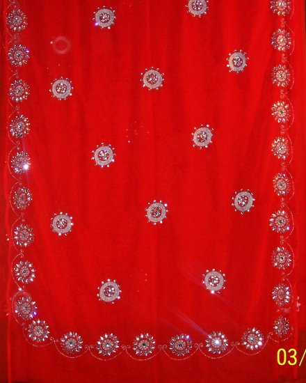Soft Red georgette saree with zari work , silver beads, kundan and stone work
