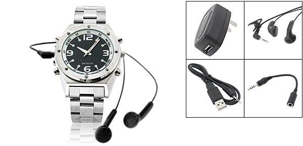 """Rock & Roll"" MP3 Quartz Wrist Watch 256MB (SDX-628) - Silver"