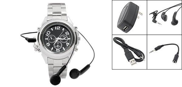 """Rock Roll"" MP3 Quartz Wristwatch 256MB (SDX-228) - Silver"