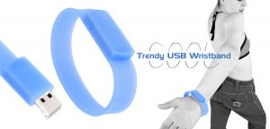 COOL-LOOK USB Flat Wristband with 1GB Flash Memory - Blue