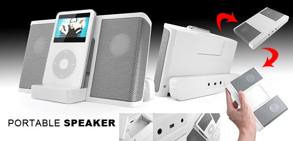 Cyber-Musica Speakers for iPod Mini Video MP3 MP4 PC - white