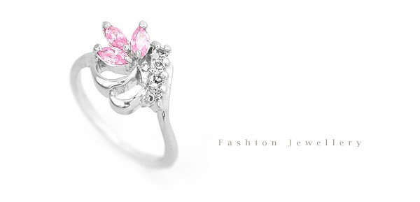 "Fashion Jewelry Pink Crystal Petit Flower - Size 18 ""White Gold"" Ring 022"