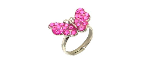"""Fashion Jewelry Elegant Crystal Butterfly """"White Gold"""" Finger Ring - Pink"""