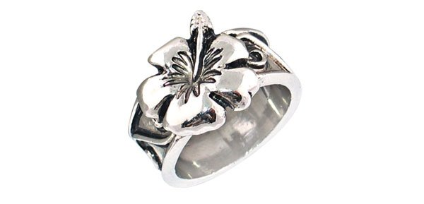 Fashion Jewelry Antique Flower Silver Ring - size 11