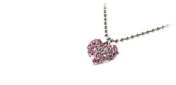 """Fashion Jewelry Heart of Pink Crystal """"White Gold"""" Necklace 003"""