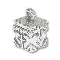 Sterling Silver Prayer Box - Cross in Heart 19x13mm
