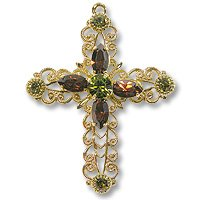 Swarovski Filigree 62016 Cross GP Khaki/Smoked Topaz/Olivine