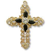 Swarovski Filigree 62016 Cross Gold Plated Crystal/Jet/Crystal