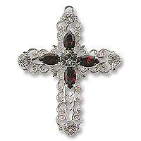 Swarovski Filigree 62016 Cross RP Shadow Crystal/Siam/Black Dmd