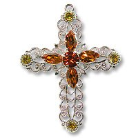 Swarovski Filigree 62016 Cross RP Lime/Topaz/Indian Red