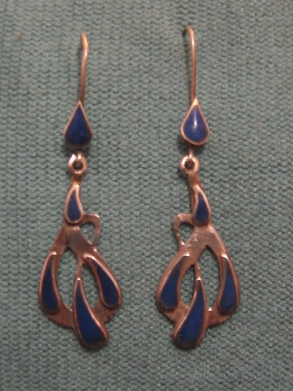 Raindrop Blue Lapis Lazuli Antique Afghani Earrings, Sterling Silver, Jewlery, Collectable