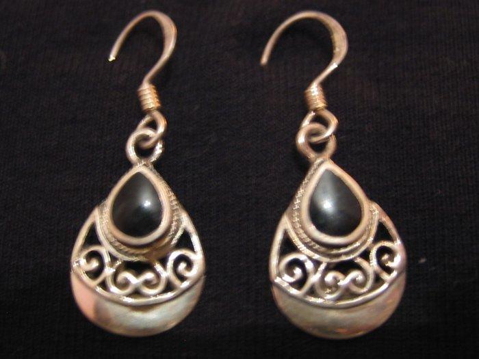 Black Onyx Stone Sterling Silver Earrings, Jewelry, Semi-precious Stone