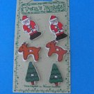 Christmas Trinkets Buttons Trena's  6 CT Santa & Reindeer Ceramic
