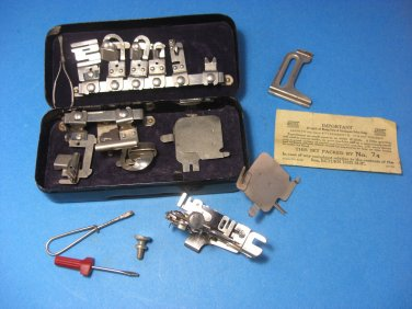 Greist Rotary Sewing Machine Attachments in Tin Box 17 Feet Domestic White