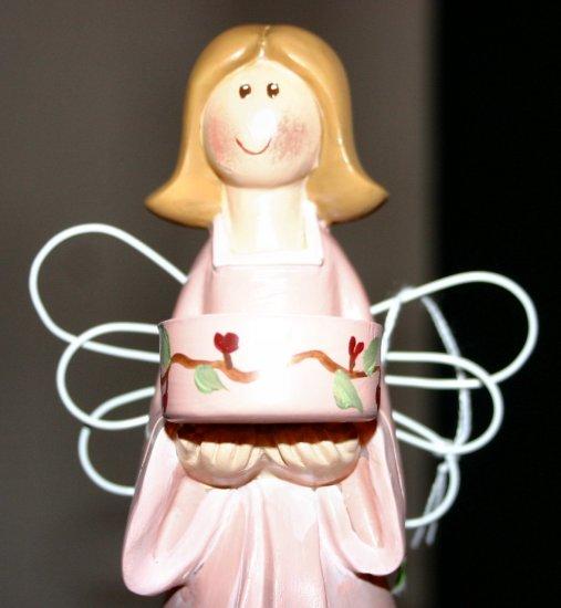 Pretty in Pink Large Garden Angel Tealite Holder