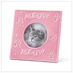 PINK STONEWARE CAT FRAME