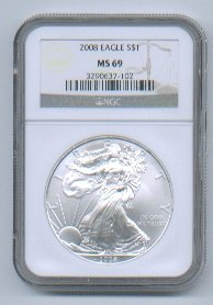 2008 AMERICAN SILVER EAGLE NGC MS69 BROWN / GOLD LABEL