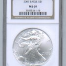 2007 AMERICAN SILVER EAGLE NGC MS69 BROWN / GOLD LABEL
