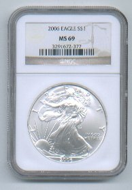 2006 AMERICAN SILVER EAGLE NGC MS69 BROWN / GOLD LABEL