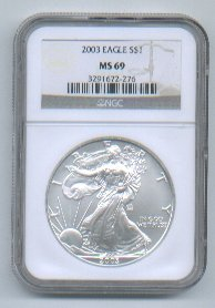 2003 AMERICAN SILVER EAGLE NGC MS69 BROWN / GOLD LABEL