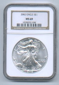 2002 AMERICAN SILVER EAGLE NGC MS69 BROWN / GOLD LABEL
