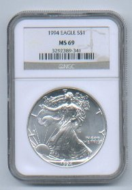 1994 AMERICAN SILVER EAGLE NGC MS69 BROWN / GOLD LABEL