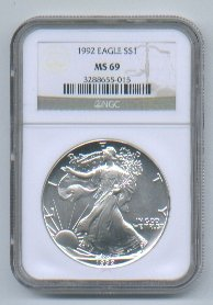 1992 AMERICAN SILVER EAGLE NGC MS69 BROWN / GOLD LABEL