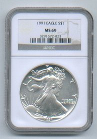 1991 AMERICAN SILVER EAGLE NGC MS69 BROWN / GOLD LABEL