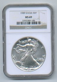 1989 AMERICAN SILVER EAGLE NGC MS69 BROWN / GOLD LABEL
