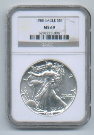 1988 AMERICAN SILVER EAGLE NGC MS69 BROWN / GOLD LABEL