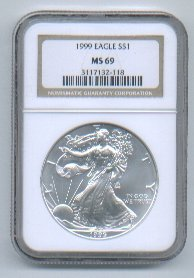 1999 AMERICAN SILVER EAGLE NGC MS69 BROWN / GOLD LABEL