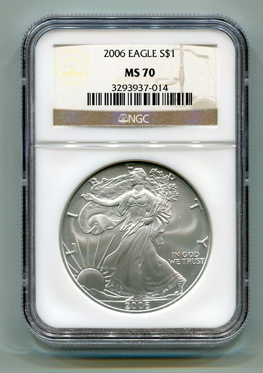 2006 AMERICAN SILVER EAGLE NGC MS70 BROWN / GOLD LABEL