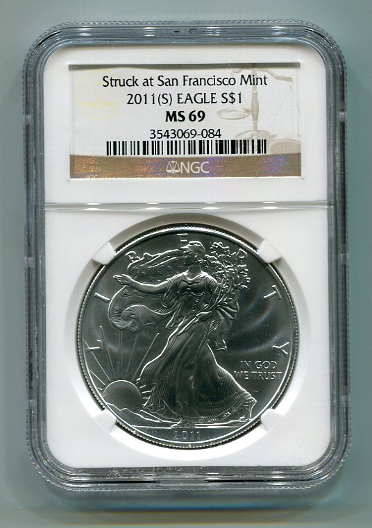 2011(S) AMERICAN SILVER EAGLE NGC MS69 SAN FRANCISCO MINT LABEL BROWN / GOLD LABEL