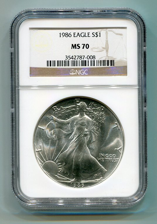 1986 AMERICAN SILVER EAGLE NGC MS70 BROWN / GOLD LABEL
