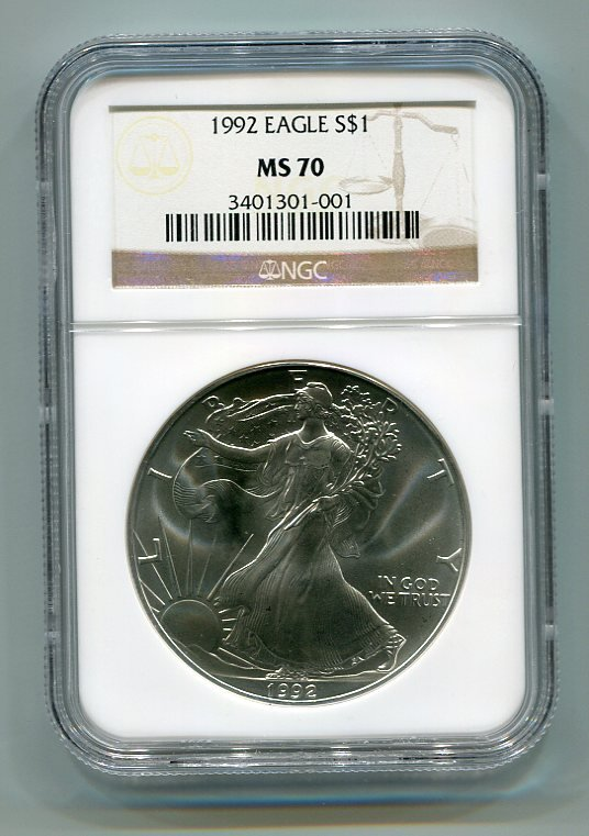 1992 AMERICAN SILVER EAGLE NGC MS70 BROWN / GOLD LABEL