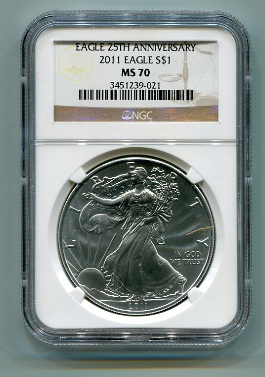 2011 AMERICAN SILVER EAGLE NGC MS70 BROWN / GOLD LABEL
