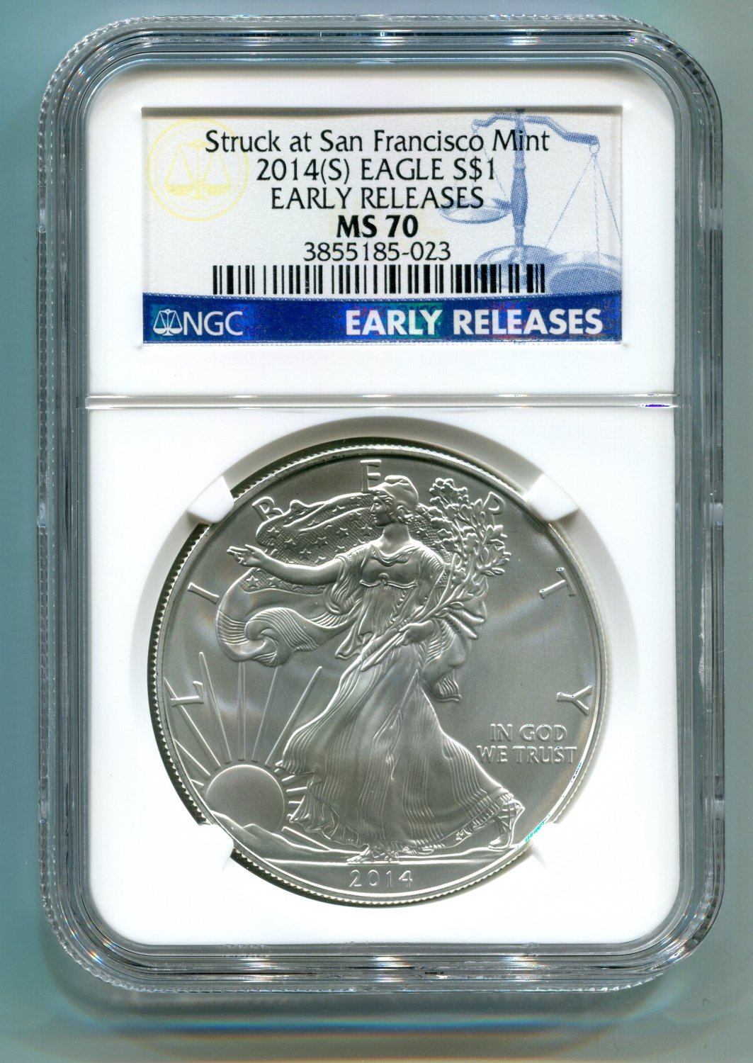 2014(S) SILVER EAGLE NGC MS 70 STRUCK AT SAN FRANCISCO MINT EARLY RELEASE