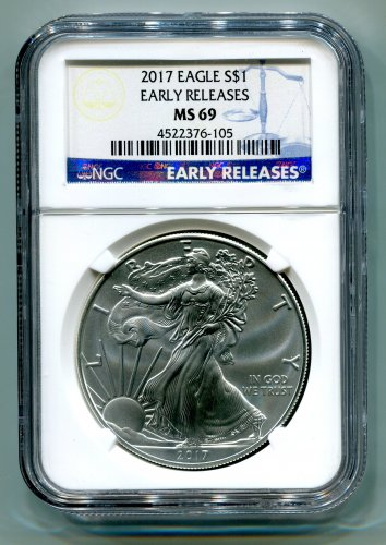 2017 AMERICAN SILVER EAGLE NGC MS 69 CLASSIC EARLY RELEASES BLUE LABEL