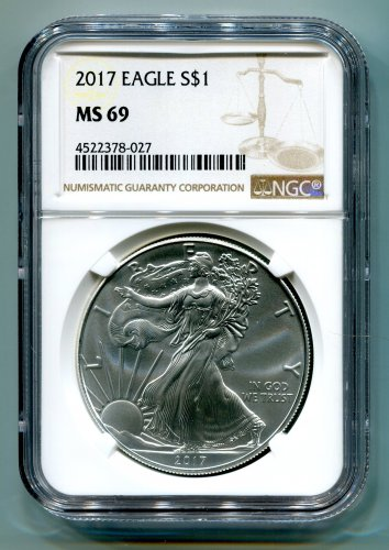 2017 AMERICAN SILVER EAGLE NGC MS 69 NEW BROWN LABEL
