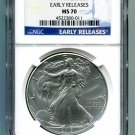 2017 AMERICAN SILVER EAGLE NGC MS 70 CLASSIC EARLY RELEASES BLUE LABEL