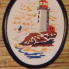 Vintage Valley Craft Crewel Picture Kit Of Light House W/ 8X10 Oval Frame