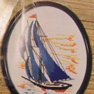 Vintage Valley Craft Crewel Picture Kit Of Sailing Ship W/8X10 Oval Frame