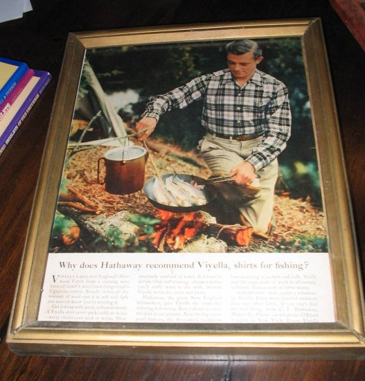 Vintage framed ad Viyella shirts frying fish