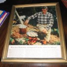 Vintage framed ad Viyella shirts frying fish